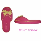 I Heart Slippers! Peep Toe Mule Vibrant Rose Slippers by Betsey Johnson