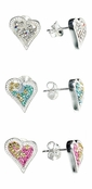 Swarovski Crystal Multi Sterling Silver Heart Earrings