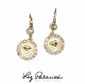 Swarovski Crystal Circle Heart Leverback Earrings by Liz Palacios