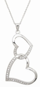 Linked Open Hearts CZ Sterling Silver Necklace