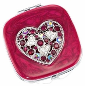 Heart to Heart Ruby Crystal AB Mirror Compact by Spring Street