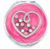 Sweetheart Pink Multi Crystal Compact Mirror by Spring Street