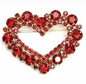 Ruby Crystal Cluster Open Heart Pin