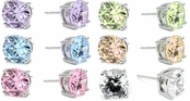 Swarovski CZ 8-Carat Round Stud Earrings