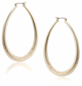 ABS Allen Schwartz Gold Oval Textured Hoop Earrings