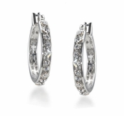 CAROLEE Deco Bezel Set Crystal Hoop Pierced Earrings