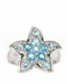 Aqua CZ Starfish Ring