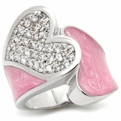 Pave'd CZ Heart Pink Enamel Band Ring