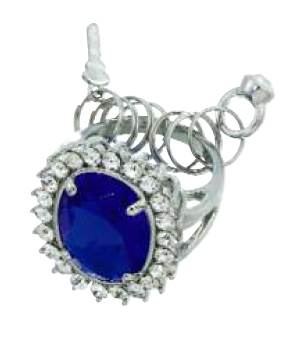 Blue Velvet Ring Key Chain by Spring Street