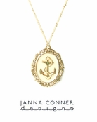 Anchor Ornate Oval Pendant Necklace by Janna Conner