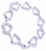 Swarovski Pink  CZ & High Polish Heart Links CZ Bracelet