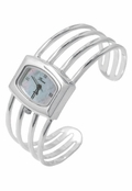 Sterling Silver Mother of Pearl Dial Cuff Bangle Watch by Boma