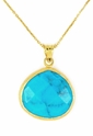 Turquoise Gemstone Yellow Gold Sterling Silver Pendant Necklace