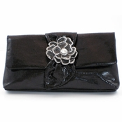 Kenneth Jay Lane Black Leather Crystal Flower Broach Clutch