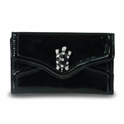 Kenneth Jay Lane Black Patent Leather Jeweled Galapagos Indexer Wallet