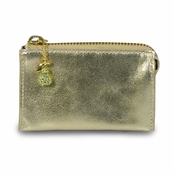 Kenneth Jay Lane Gold Leather Fruta Dorada Zip Coin Purse