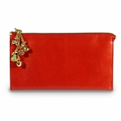 Kenneth Jay Lane Red Leather Fruta Dorada Organizer Wallet