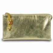 Kenneth Jay Lane Gold Leather Fruta Dorada Organizer Wallet