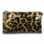 Kenneth Jay Lane Leopard Print Leather Fruta Dorada Organizer Wallet