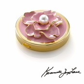 Flower Compact Mirror With Pearl Center