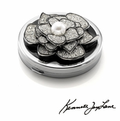 Crystal Encrusted Flower Compact Mirror  With Pearl Center