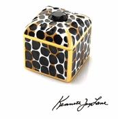 Leopard Pattern Trinket Box Faceted Jet Stone