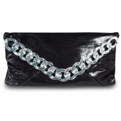 Kenneth Jay Lane Black Leather Lake Tahoe Clutch