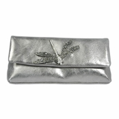 Kenneth Jay Lane Pewter Leather Diana Clutch