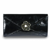 Black Envelope Flower Clutch by Keneth Jay Lane
