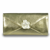Metallic Gold Envelope Flower Clutch by Kenneth Jay Lane