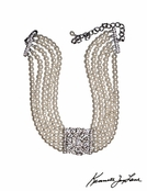 Five Row Cultura Pearl Silver Crystal Front Necklace by Kenneth Jay Lane