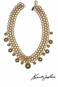 Gold Link Chain and Gold Pearl Ball Drops Necklace by Kenneth Jay Lane