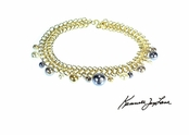 Gold Link Chain and Multi Pear Pearl Ball Drops Necklace by Kenneth Jay Lane