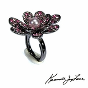 Pink Multi Crystal Pearl Center Gun Metal Flower Ring by Kenneth Jay Lane