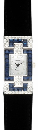 Sapphire & Clear Crystal Rectangular Face Watch by PEDRE New York