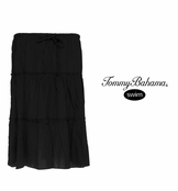 Black Crinkled Cotton Triple Tiered Skirt by Tommy Bahama