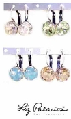 Swarovski Crystal Silver Faceted Round Leverback Earrings by Liz Palacios