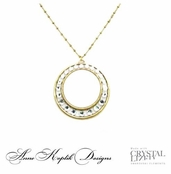Swarovski Crystal Bold Antique Gold Circle Pendant Necklace by Anne Koplik