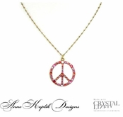Swarovski Crystal Pink Multi Peace Pendant Necklace by Anne Koplik