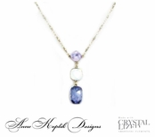 Swarovski Crystal Bold Tanzanite Multi Line Pendant Necklace by Anne Koplik