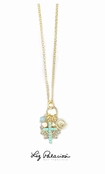 Gold Multi Charm Swarovski Crystal Necklace by Liz Palacios
