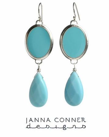 Silver Enameled Ryanne Earrings by Janna Conner