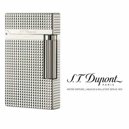 Ligne 2 Silver Diamond Head Lighter by S.T. Dupont