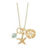 Gold Apatite & Sea Life Charms Necklace by Baroni