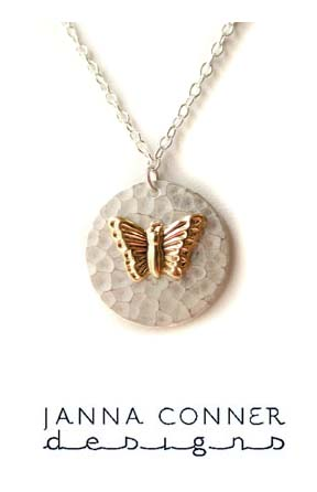 Butterfly Circle Charm Necklace by Janna Conner