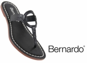 Black Matrix Tumbled Calfskin Leather Sandals by Bernardo