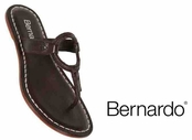 Chocolate Matrix Leather Sandals by Bernardo