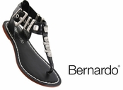 Black Milan Leather Studded Sandals by Bernardo