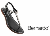 Black Mojo Lux Calfskin Leather Studded Sandals by Bernardo