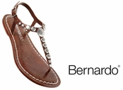 Tabac  Mojo Lux Calfskin Leather Studded Sandals by Bernardo
